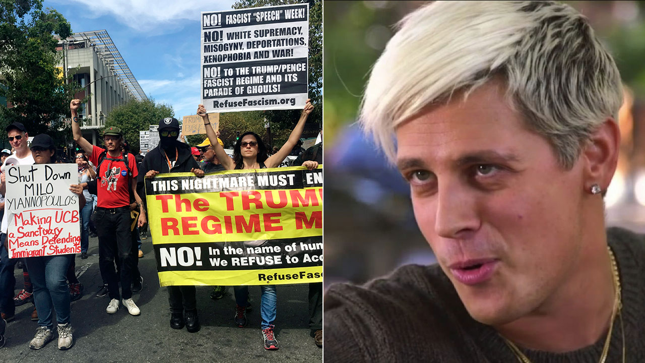 Conservative commentator Milo Yiannopoulos, shown in undated file image, has attracted protests at many of his speeches, like this one in Berkeley on Sept. 24, 2017.