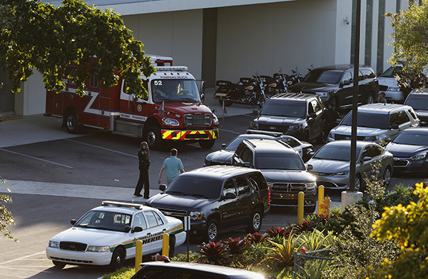 <div class='meta'><div class='origin-logo' data-origin='AP'></div><span class='caption-text' data-credit='AP Photo/Joe Skipper'>Police and rescue vehicles are shown outside Broward Health North hospital, Wednesday, Feb. 14, 2018, in Deerfield Beach, Fla.</span></div>