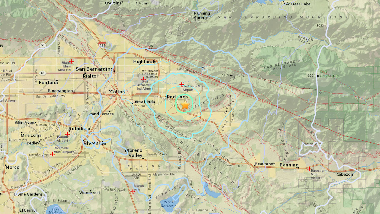 A map from USGS shows the epicenter of a 3.5-magnitude earthquake that struck near Redlands and Mentone on Wednesday, Feb. 14, 2018.