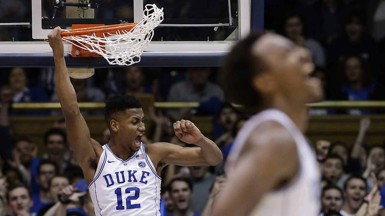 Duke's Javin DeLaurier (12) and Wendell Carter Jr. react as Duke pulls away Wednesday from Virginia Tech in Durham.