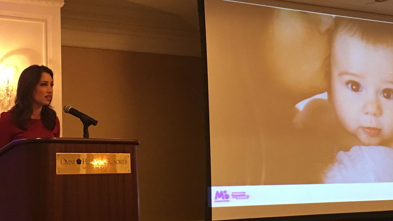 ABC7 Mornings Anchor Jessica Castro speaks at a luncheon to kick off the San Francisco March of Dimes March for Babies on Thursday, Feb. 15, 2018.
