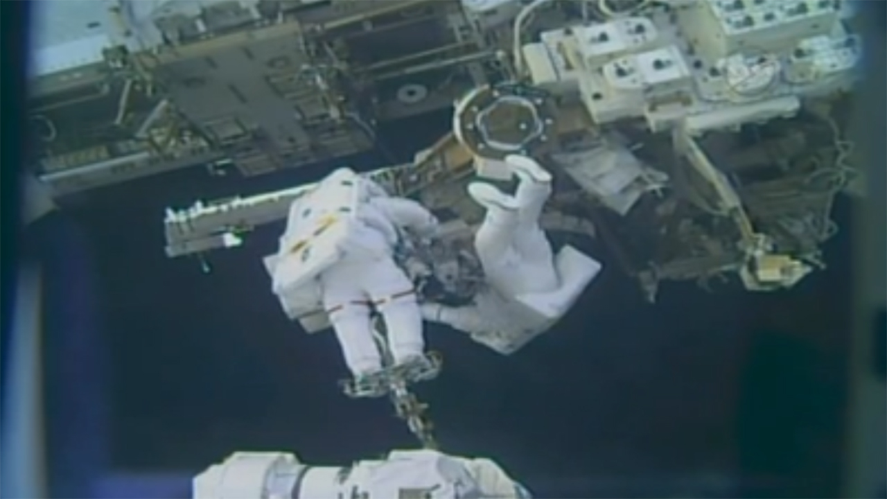 Astronauts spacewalk outside International Space Station, Friday, February 16, 2018.