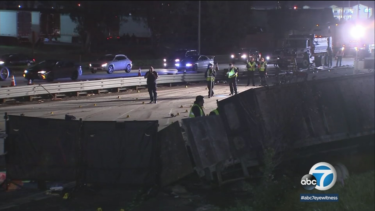 At least 5 killed in fiery semitruck crash on 10 Fwy in Rialto
