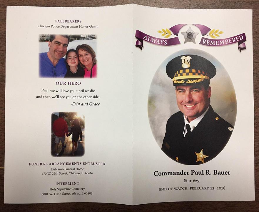 <div class='meta'><div class='origin-logo' data-origin='WLS'></div><span class='caption-text' data-credit=''>Funeral program for Chicago police Cmdr. Paul Bauer.</span></div>