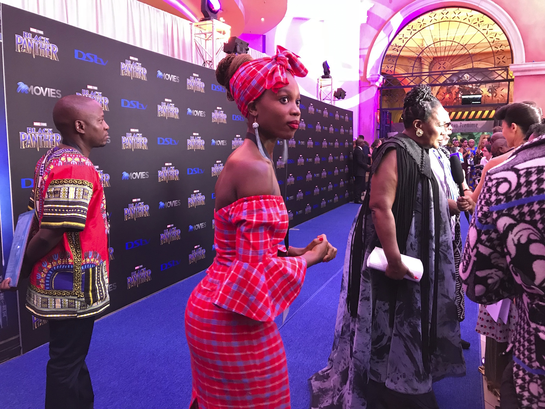 "<div class='meta'><div class='origin-logo' data-origin='AP'></div><span class='caption-text' data-credit='AP Photo/Cara Anna'>The cast of ""Black Panther"" arrive at the South Africa premiere on Friday, Feb. 16, 2018, in Johannesburg.</span></div>"