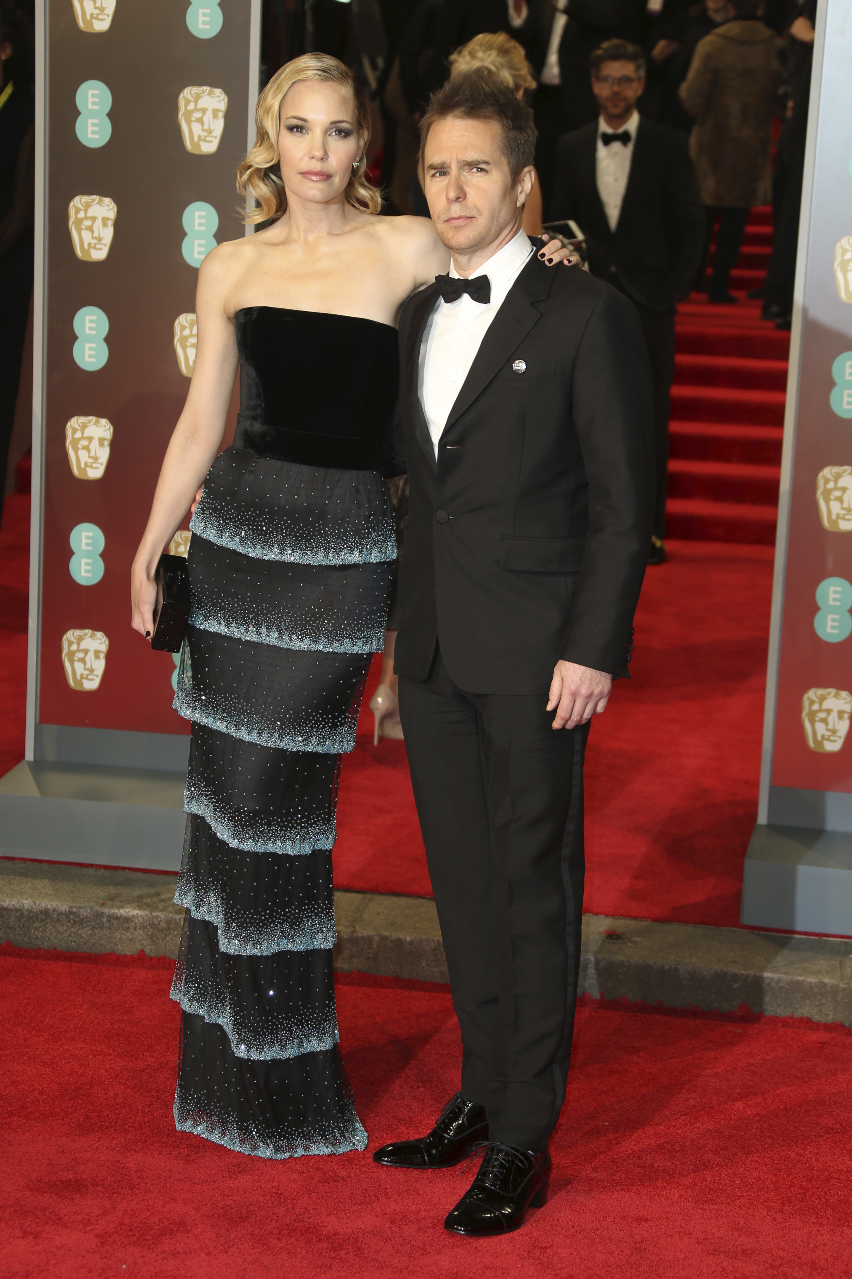 <div class='meta'><div class='origin-logo' data-origin='AP'></div><span class='caption-text' data-credit='Joel C Ryan/Invision/AP'>Actor Sam Rockwell, right, and Leslie Bibb pose for photographers upon arrival at the BAFTA 2018 Awards in London, Sunday, Feb. 18, 2018.</span></div>