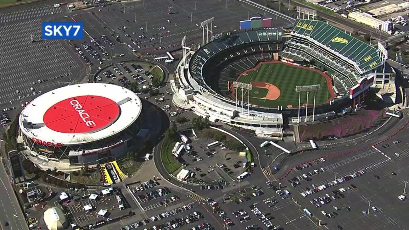 This is an undated aerial image of the Oakland Coliseum and Oracle Arena in Oakland, Calif.
