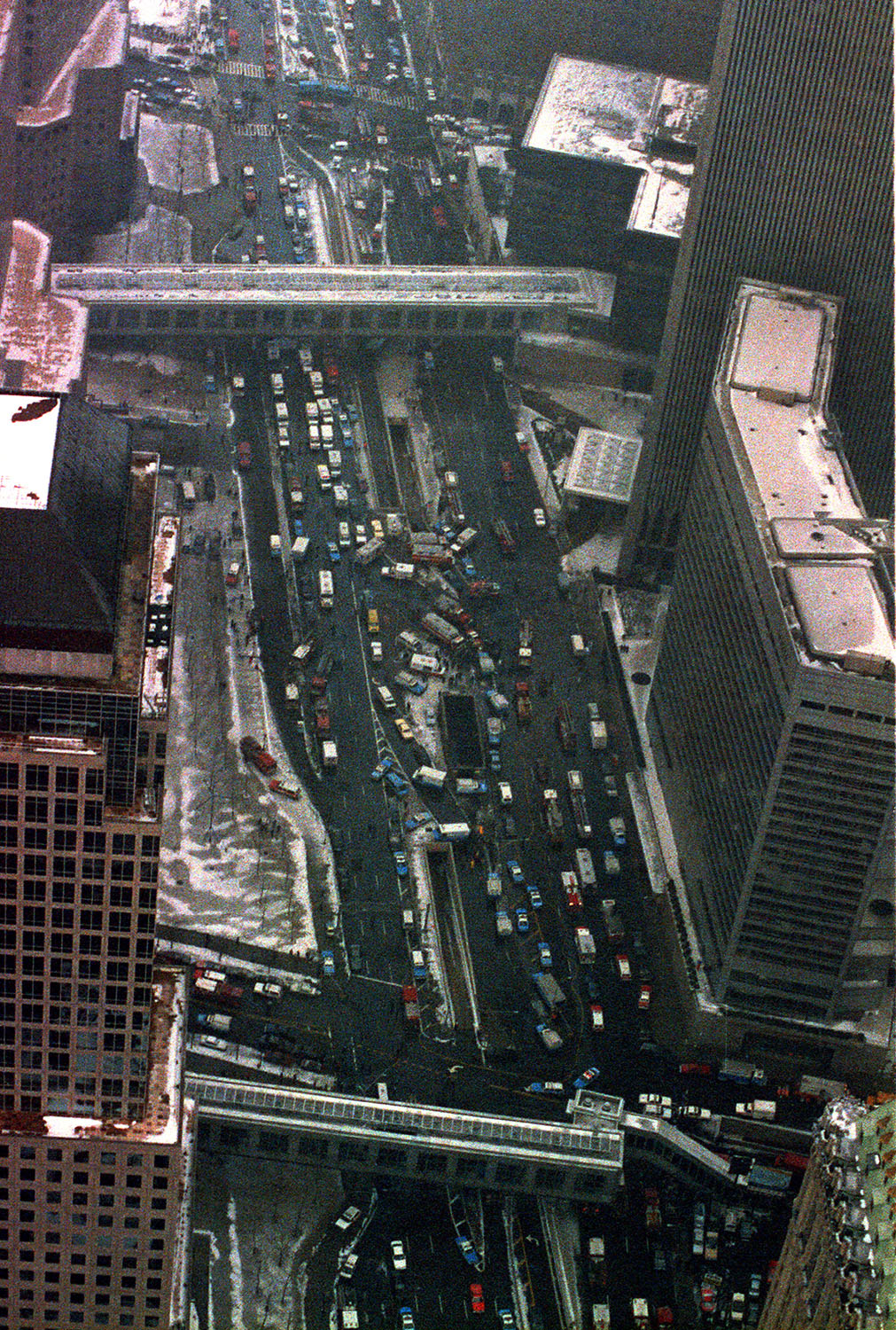 <div class='meta'><div class='origin-logo' data-origin='AP'></div><span class='caption-text' data-credit='AP Photo/Val Mazzuka'>Police and fire equipment block the streets near the World Trade Center in New York City on Feb. 26, 1993.</span></div>
