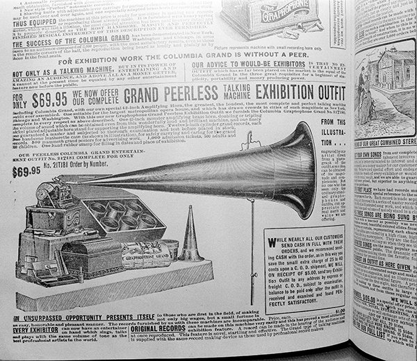 "<div class=""meta image-caption""><div class=""origin-logo origin-image ap""><span>AP</span></div><span class=""caption-text"">A Columbia Gramophone Grand, pictured in a Sears Roebuck catalog from 1902, is shown in this photo from Chicago, Aug. 26, 1948. (AP Photo/Edward Kitch)</span></div>"