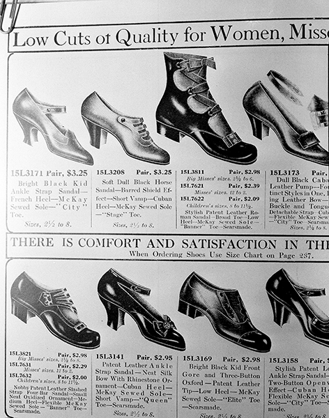 "<div class=""meta image-caption""><div class=""origin-logo origin-image ap""><span>AP</span></div><span class=""caption-text"">Illustrations of women's shoes are pictured in a 1918 issue of a Sears Roebucks catalog on the shelves of the Chicago Public Library, Aug. 26, 1948. (AP Photo/Edward Kitch)</span></div>"