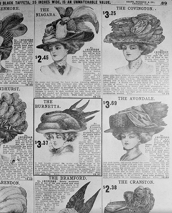 "<div class=""meta image-caption""><div class=""origin-logo origin-image ap""><span>AP</span></div><span class=""caption-text"">Women's hats are pictured in a 1907 Sears Roebuck catalog from the shelves of the Chicago Public Library, Aug. 26, 1948. Hat's of 1907 were huge and low priced. (AP Photo/Edward Kitch)</span></div>"