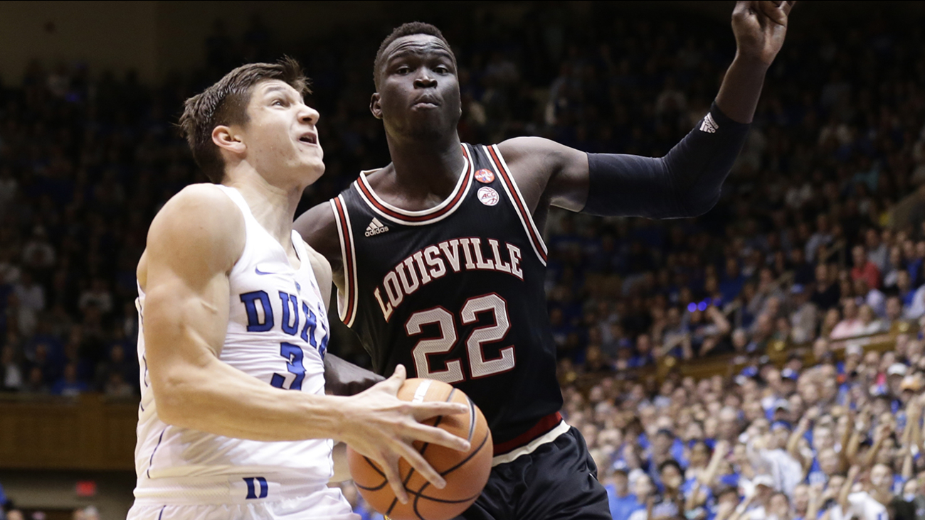 Duke's Grayson Allen drives to the basket against Louisville's Deng Adel on Wednesday in Durham.