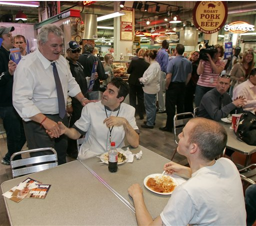 <div class='meta'><div class='origin-logo' data-origin='none'></div><span class='caption-text' data-credit='AP'>U.S. Rep. Bob Brady, a Democratic candidate for mayor of Philadelphia, greets people at the Reading Terminal Market Monday, May 14, 2007, in Philadelphia. (AP Photo/Tom Mihalek)</span></div>