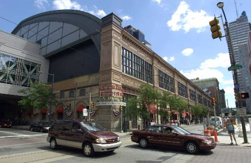 <div class='meta'><div class='origin-logo' data-origin='none'></div><span class='caption-text' data-credit='AP'>Cars drive past the Reading Terminal Market on Arch Street in Philadelphia, Friday, July 6, 2001.  (AP Photo/Chris Gardner)</span></div>