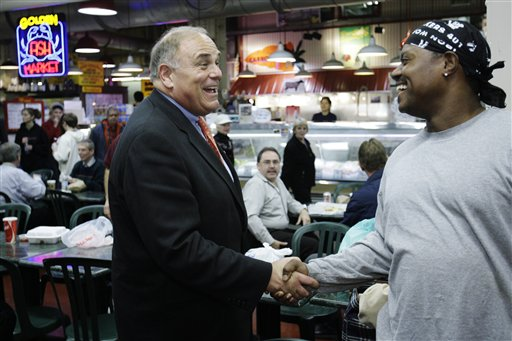 <div class='meta'><div class='origin-logo' data-origin='none'></div><span class='caption-text' data-credit=''>Pennsylvania Gov. Ed Rendell, left, shakes hands with Jeff Wheeler of Philadelphia during a campaign stop at the Reading Terminal Market in Philadelphia on Wednesday, Nov. 1 2006.</span></div>