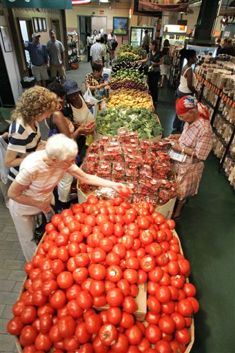<div class='meta'><div class='origin-logo' data-origin='none'></div><span class='caption-text' data-credit='AP'>Customers shop for strawberries and tomatoes inside Philadelphia's Reading Terminal Market on Tuesday, July 17, 2007. (AP Photo/George Widman)</span></div>