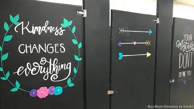 Elementary School Parents Paint Uplifting Messages On Bathroom - School bathroom stalls