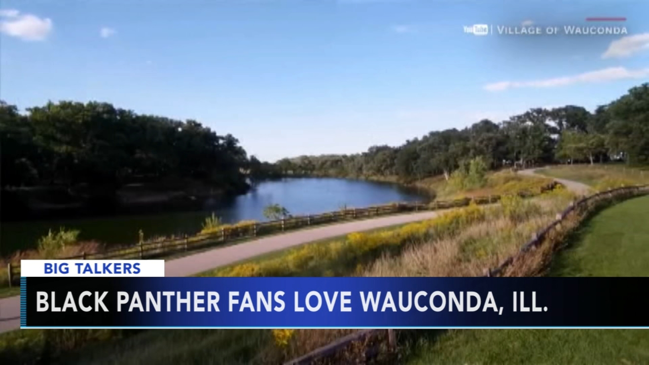 "A news screenshot with the words ""Black Panther fans love Wauconda, Ill."" over an idyllic river scene"
