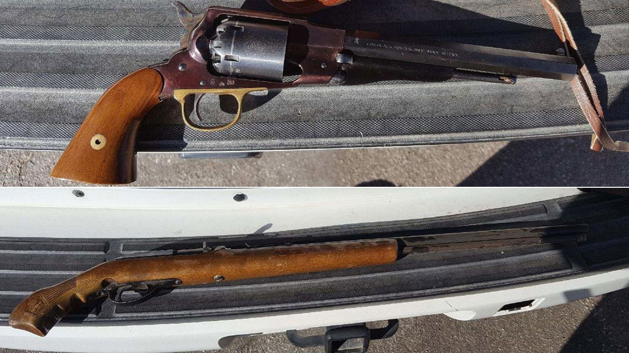 Two guns that were seized from a Yucca Valley High School student's home are shown.