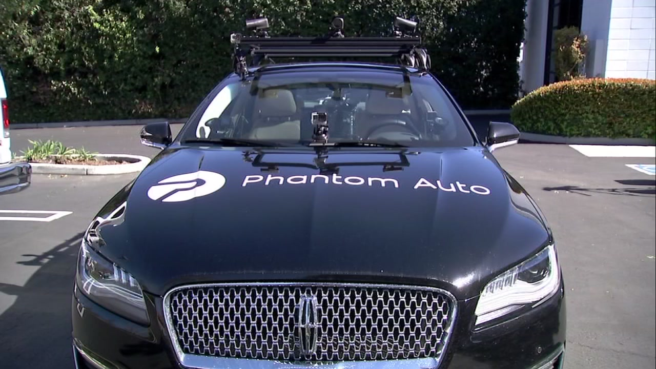 A Phantom Auto self-driving vehicle appears in Mountain View, Calif. on Friday, Feb. 23, 2018.