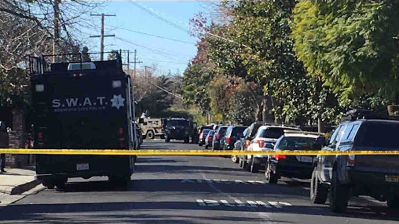 A SWAT vehicle is seen during a search for an armed man in Menlo Park, Calif. on Sunday, Feb. 25, 2018.