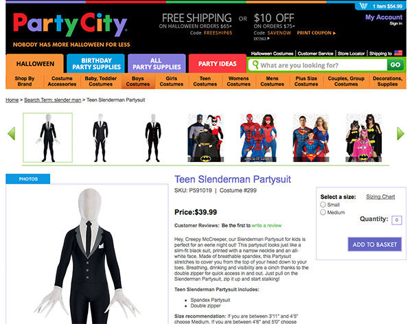 "<div class=""meta image-caption""><div class=""origin-logo origin-image ""><span></span></div><span class=""caption-text"">Party City is under fire after selling this ""Teen Slenderman Partysuit"" costume after two girls were inspired by the character to brutally stab their classmate. (Partycity.com)</span></div>"