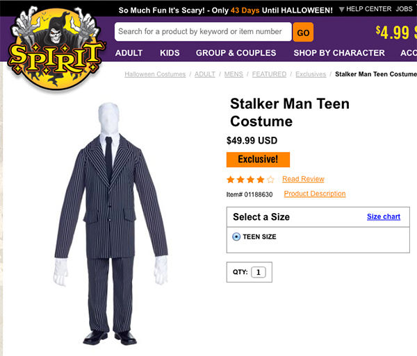 "<div class=""meta image-caption""><div class=""origin-logo origin-image ""><span></span></div><span class=""caption-text"">Spirit Halloween was offering a similiar costume titled ""Stalker Man Teen Costume"" for $49.99 online. (SpiritHalloween.com)</span></div>"