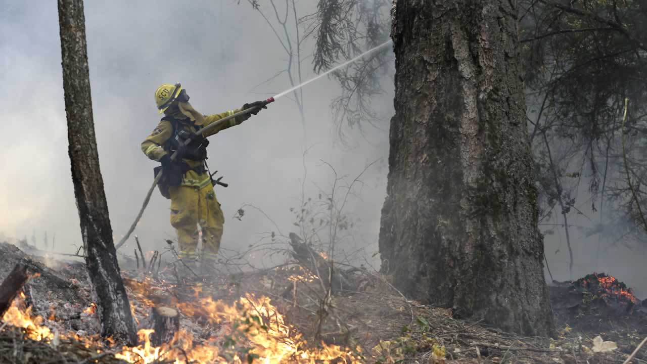 "<div class=""meta image-caption""><div class=""origin-logo origin-image ""><span></span></div><span class=""caption-text"">A firefighter waters down a tree as flames approach a containment line, while fighting the King fire near Fresh Pond, Calif., Thursday, Sept. 18, 2014. (AP Photo/Rich Pedroncelli)</span></div>"