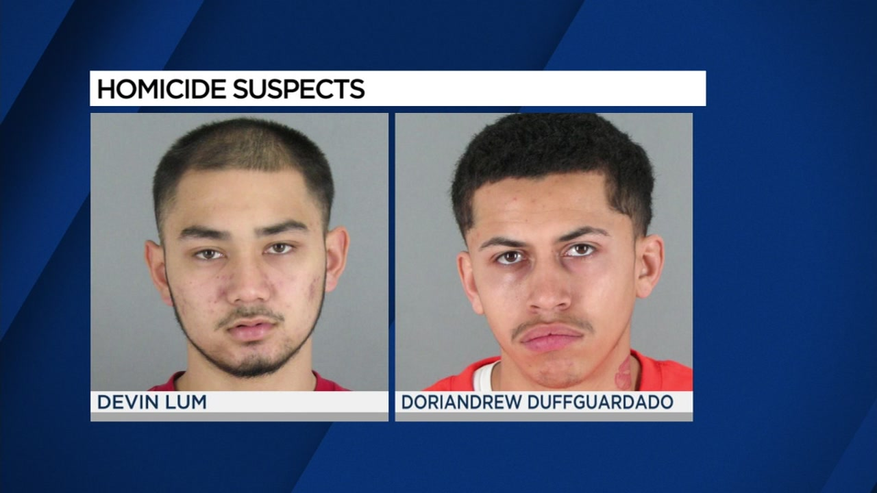 Homicide suspects Devin Lum, left, and Doriandrew Duffguardado, right, appear in their mugshots.