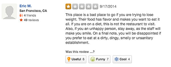 Photos Hilarious One Star Reviews For Restaurant Trying To