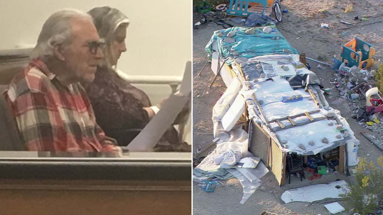 (Left) Mona Kirk, 51, and Daniel Panico, 73, await arraignment Friday, March 2, 2017. (Right) An aerial image of a large box in Joshua Tree, where three children were found living.