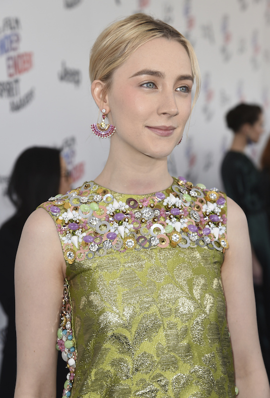"<div class=""meta image-caption""><div class=""origin-logo origin-image ap""><span>AP</span></div><span class=""caption-text"">Saoirse Ronan arrives at the 33rd Film Independent Spirit Awards on Saturday, March 3, 2018, in Santa Monica, Calif. (Richard Shotwell/Invision/AP)</span></div>"