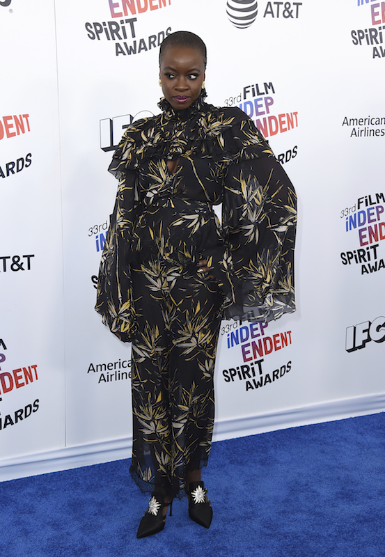 "<div class=""meta image-caption""><div class=""origin-logo origin-image ap""><span>AP</span></div><span class=""caption-text"">Danai Gurira arrives at the 33rd Film Independent Spirit Awards on Saturday, March 3, 2018, in Santa Monica, Calif. (Jordan Strauss/Invision/AP)</span></div>"