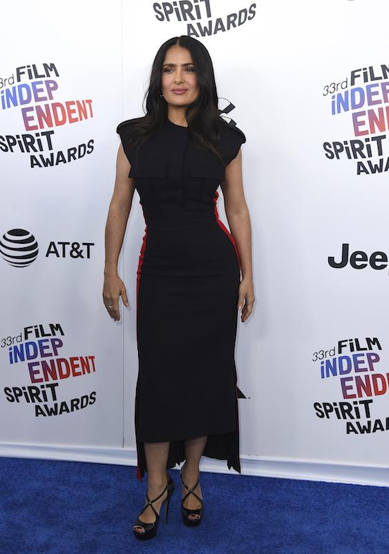 "<div class=""meta image-caption""><div class=""origin-logo origin-image ap""><span>AP</span></div><span class=""caption-text"">Salma Hayek arrives at the 33rd Film Independent Spirit Awards on Saturday, March 3, 2018, in Santa Monica, Calif. (Jordan Strauss/Invision/AP)</span></div>"