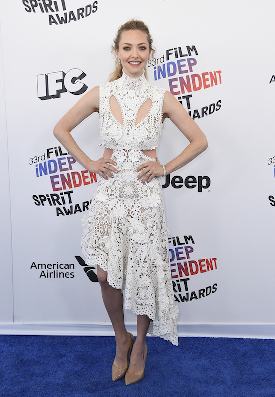 "<div class=""meta image-caption""><div class=""origin-logo origin-image ap""><span>AP</span></div><span class=""caption-text"">Amanda Seyfried arrives at the 33rd Film Independent Spirit Awards on Saturday, March 3, 2018, in Santa Monica, Calif. (Jordan Strauss/Invision/AP)</span></div>"