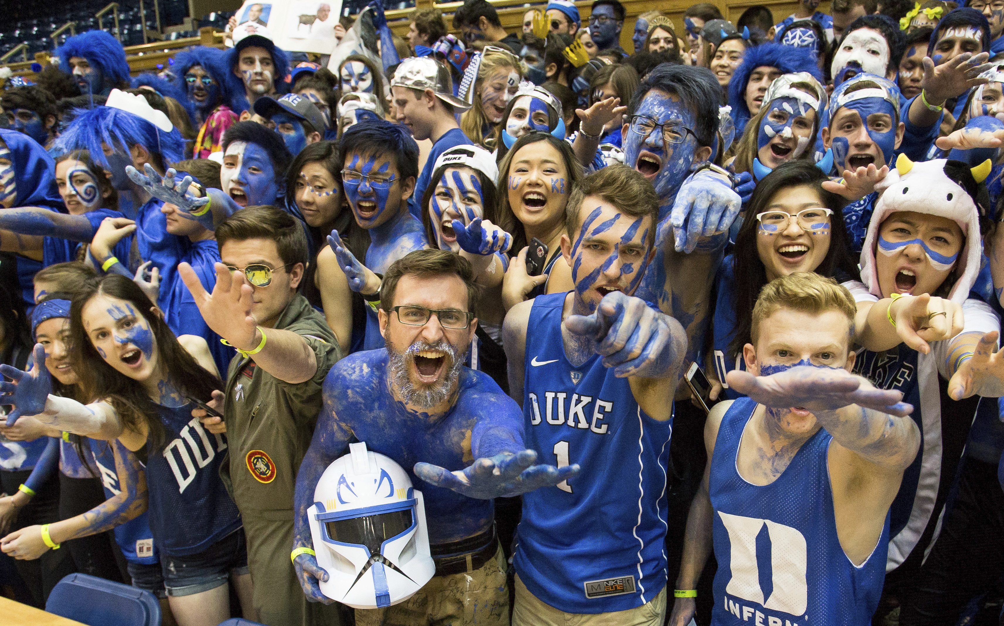 <div class='meta'><div class='origin-logo' data-origin='none'></div><span class='caption-text' data-credit='AP Photo/Ben McKeown'>The Cameron Crazies cheer as they await the start of an NCAA college basketball game</span></div>