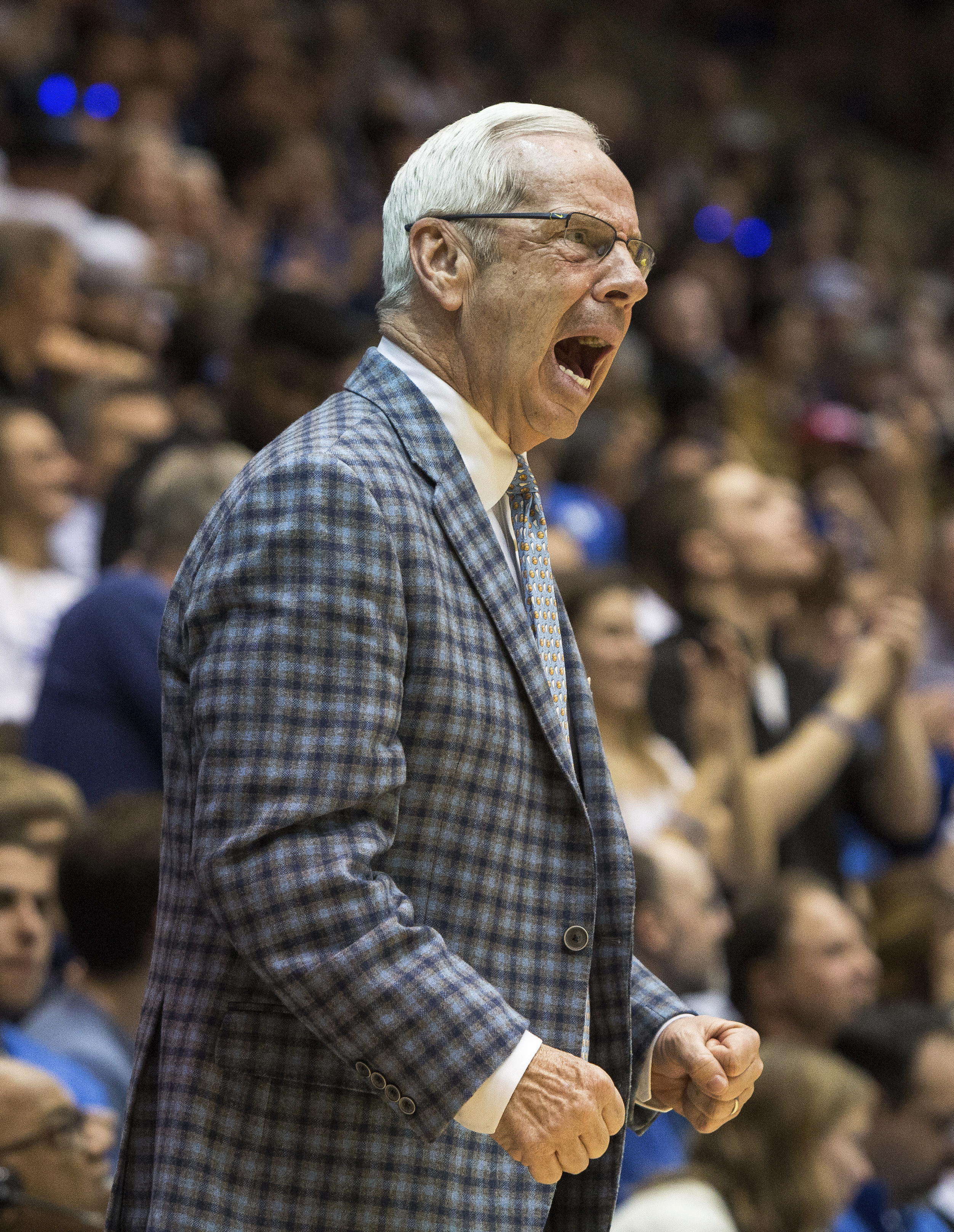<div class='meta'><div class='origin-logo' data-origin='none'></div><span class='caption-text' data-credit='AP Photo/Ben McKeown'>North Carolina head coach Roy Williams shouts towards the floor during the first half of an NCAA college basketball game</span></div>