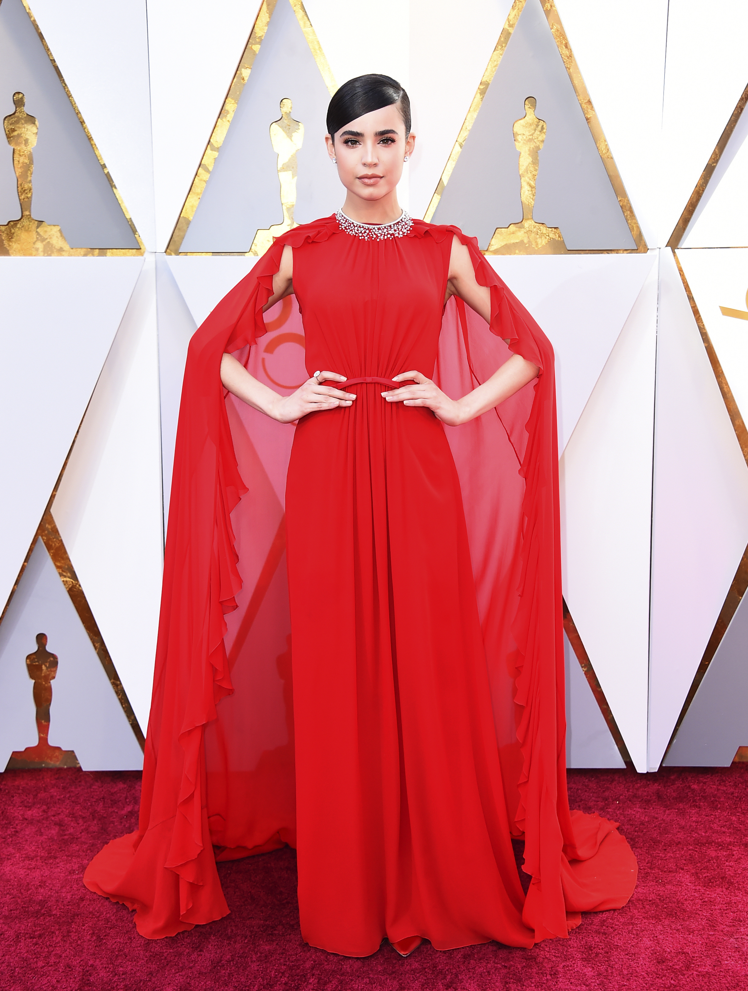 "<div class=""meta image-caption""><div class=""origin-logo origin-image none""><span>none</span></div><span class=""caption-text"">Sofia Carson arrives at the Oscars on Sunday, March 4, 2018, at the Dolby Theatre in Los Angeles. (Jordan Strauss/Invision/AP)</span></div>"