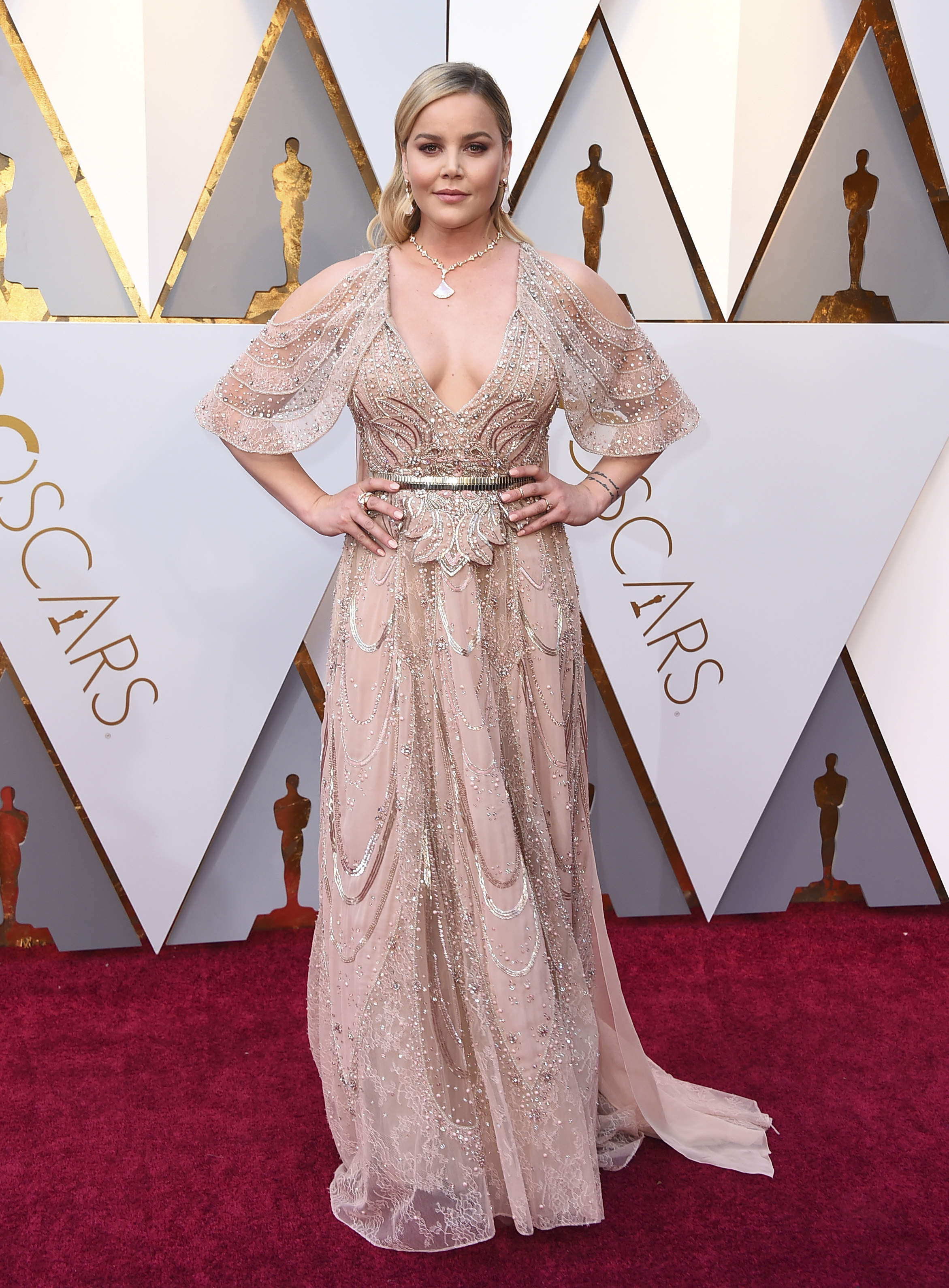 <div class='meta'><div class='origin-logo' data-origin='none'></div><span class='caption-text' data-credit='Jordan Strauss/Invision/AP'>Abbie Cornish arrives at the Oscars on Sunday, March 4, 2018, at the Dolby Theatre in Los Angeles.</span></div>