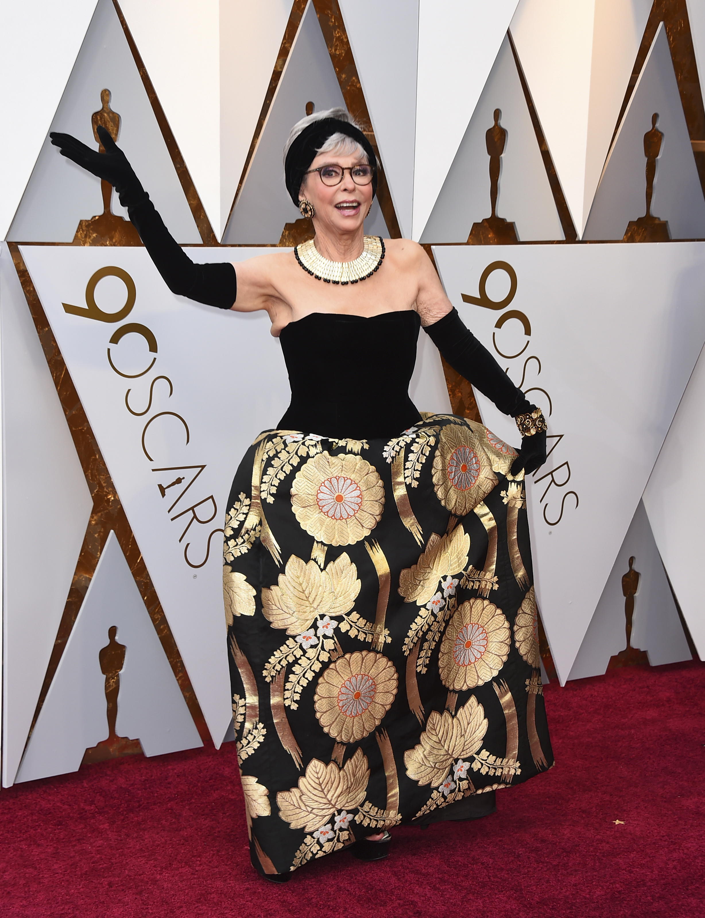 <div class='meta'><div class='origin-logo' data-origin='none'></div><span class='caption-text' data-credit='Jordan Strauss/Invision/AP'>Rita Moreno arrives at the Oscars on Sunday, March 4, 2018, at the Dolby Theatre in Los Angeles.</span></div>