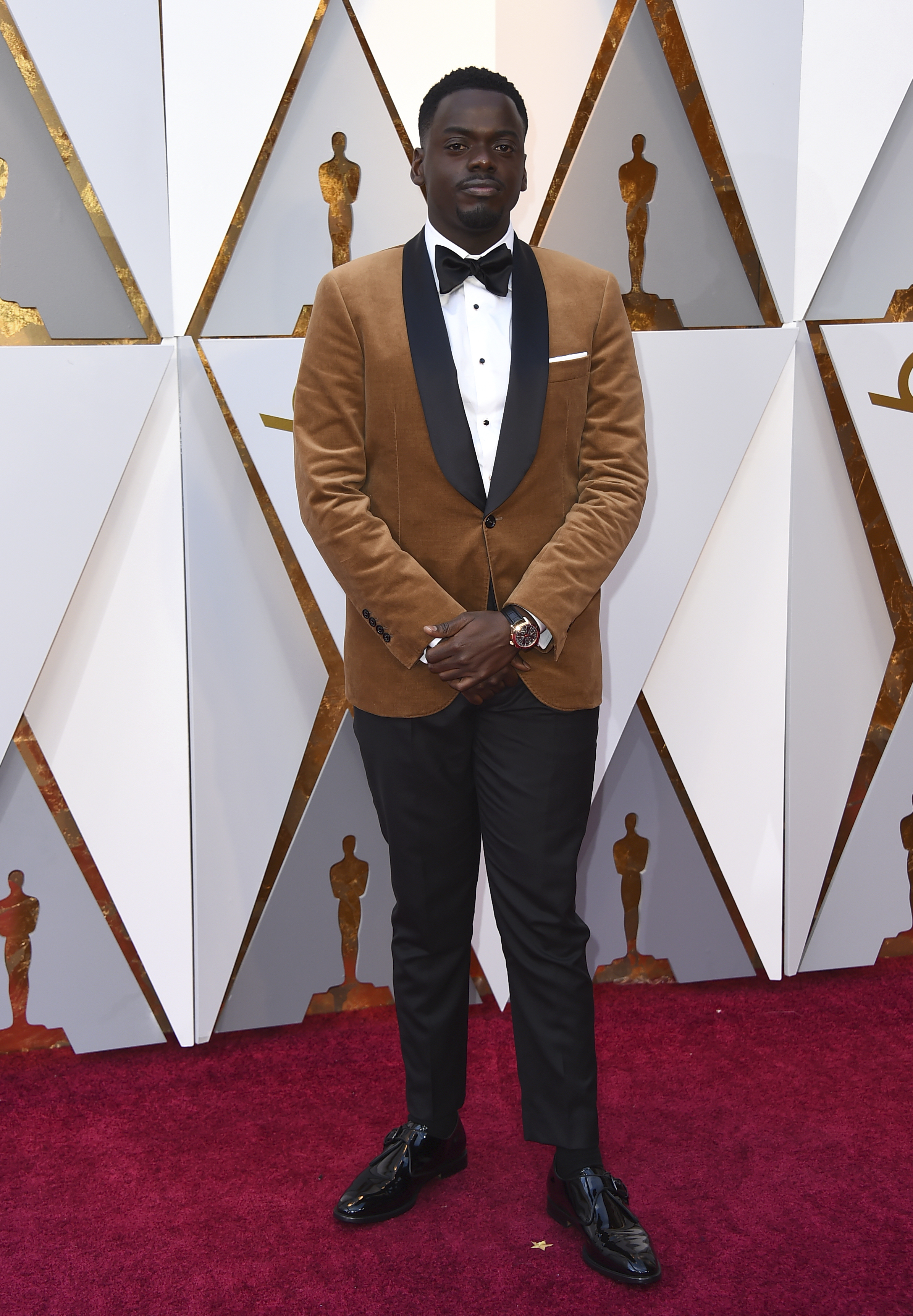 <div class='meta'><div class='origin-logo' data-origin='none'></div><span class='caption-text' data-credit='Jordan Strauss/Invision/AP'>Daniel Kaluuya, nominated for Best Actor for ''Get Out,'' arrives at the Oscars on Sunday, March 4, 2018, at the Dolby Theatre in Los Angeles.</span></div>