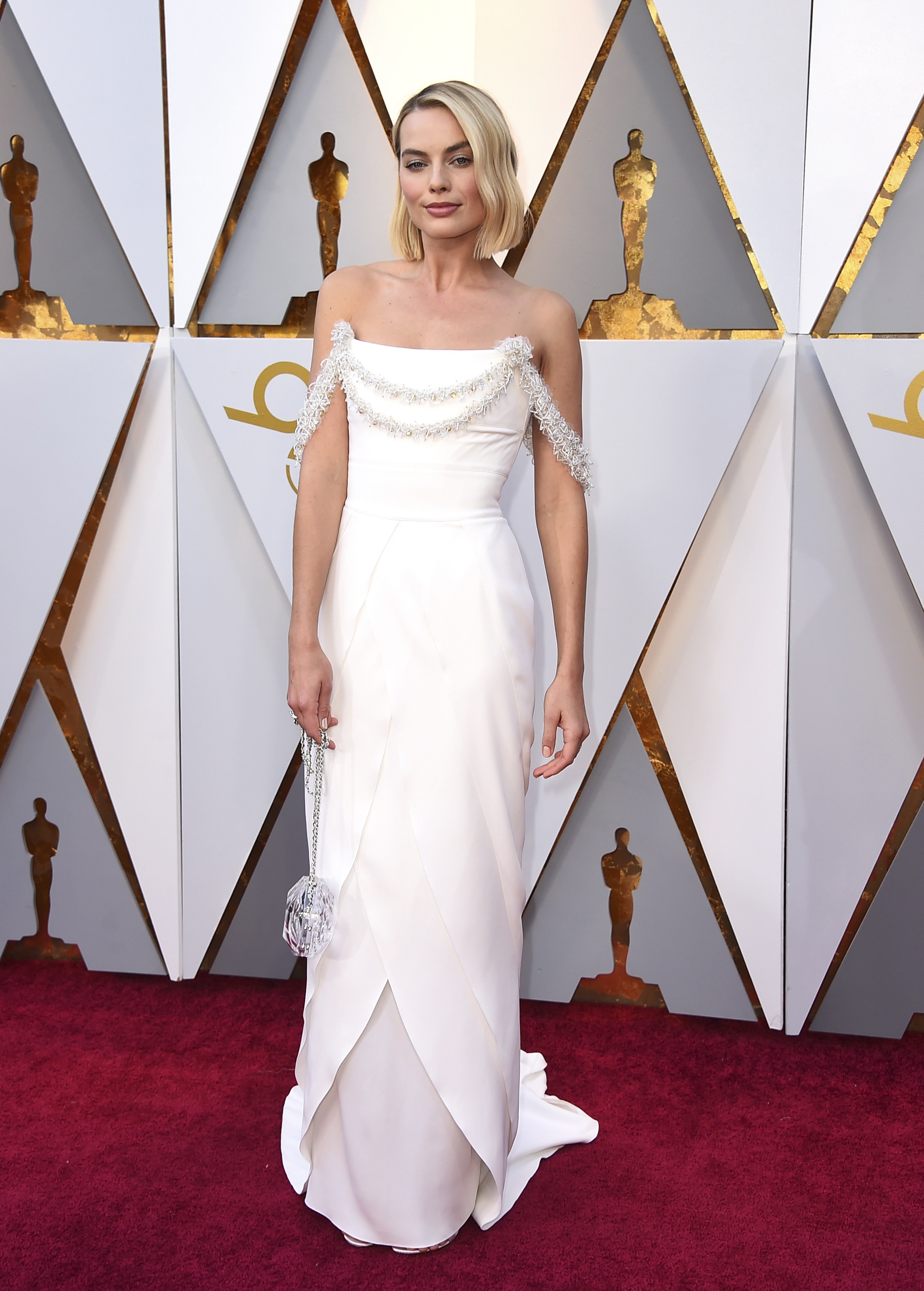 <div class='meta'><div class='origin-logo' data-origin='none'></div><span class='caption-text' data-credit='Jordan Strauss/Invision/AP'>Margot Robbie, nominated for Best Actress for ''I, Tonya,'' arrives at the Oscars on Sunday, March 4, 2018, at the Dolby Theatre in Los Angeles.</span></div>