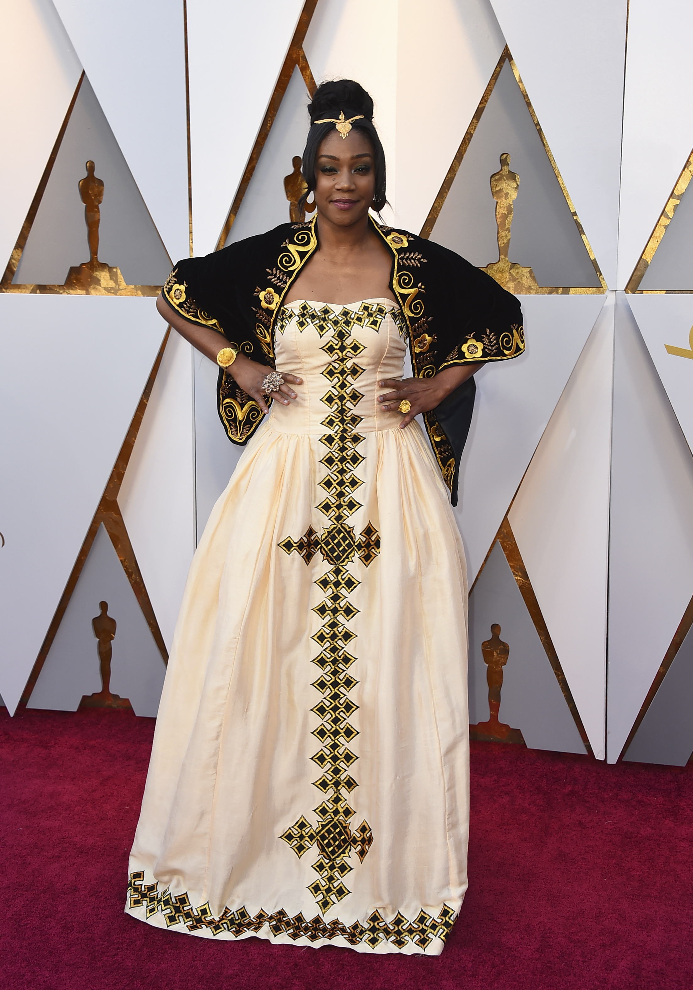 <div class='meta'><div class='origin-logo' data-origin='none'></div><span class='caption-text' data-credit='Jordan Strauss/Invision/AP'>Tiffany Haddish of ''Girls Trip'' arrives at the Oscars on Sunday, March 4, 2018, at the Dolby Theatre in Los Angeles.</span></div>