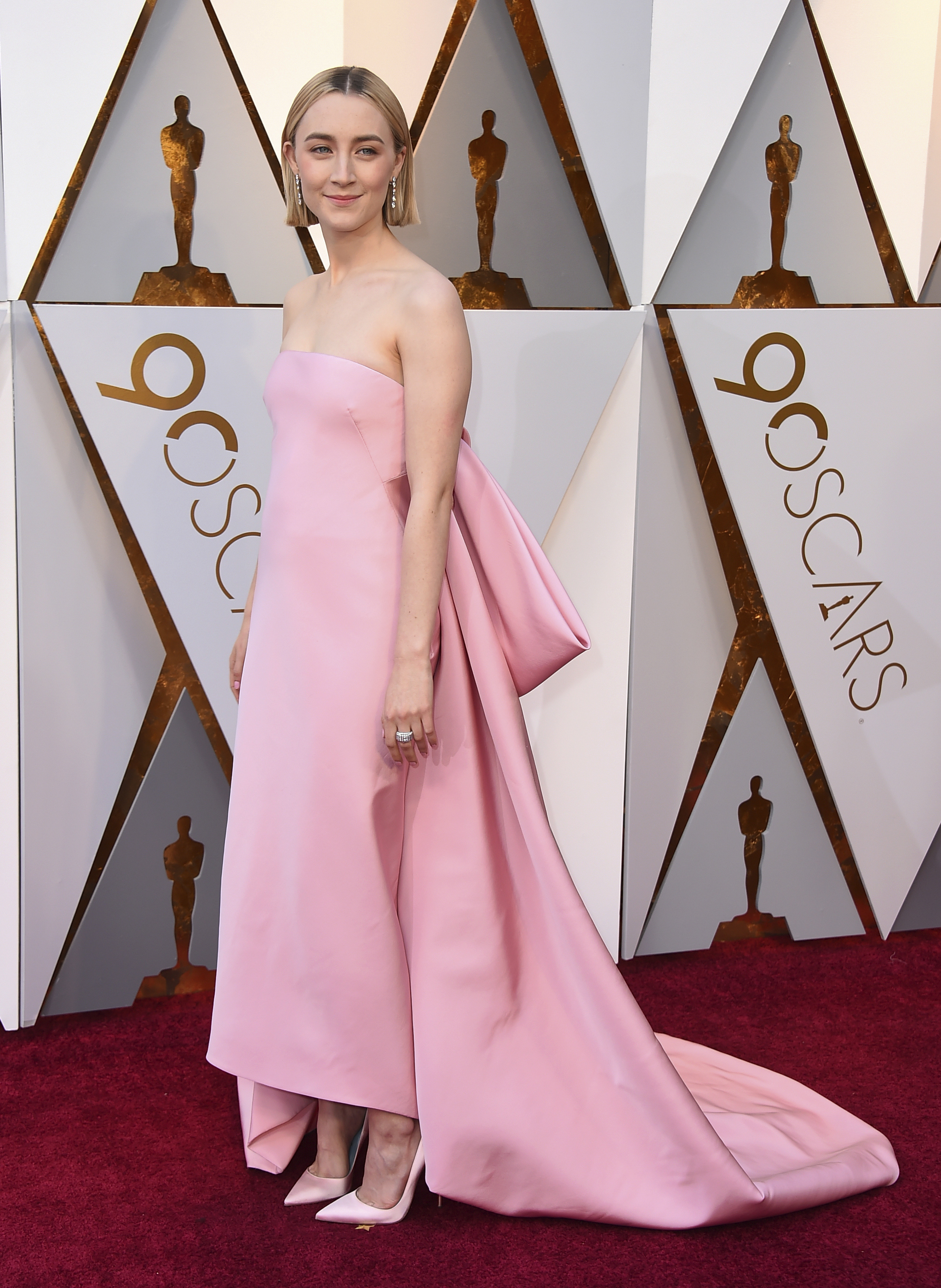 <div class='meta'><div class='origin-logo' data-origin='none'></div><span class='caption-text' data-credit='Jordan Strauss/Invision/AP'>Best Actress nominee Saoirse Ronan of ''Lady Bird'' arrives at the Oscars on Sunday, March 4, 2018, at the Dolby Theatre in Los Angeles.</span></div>
