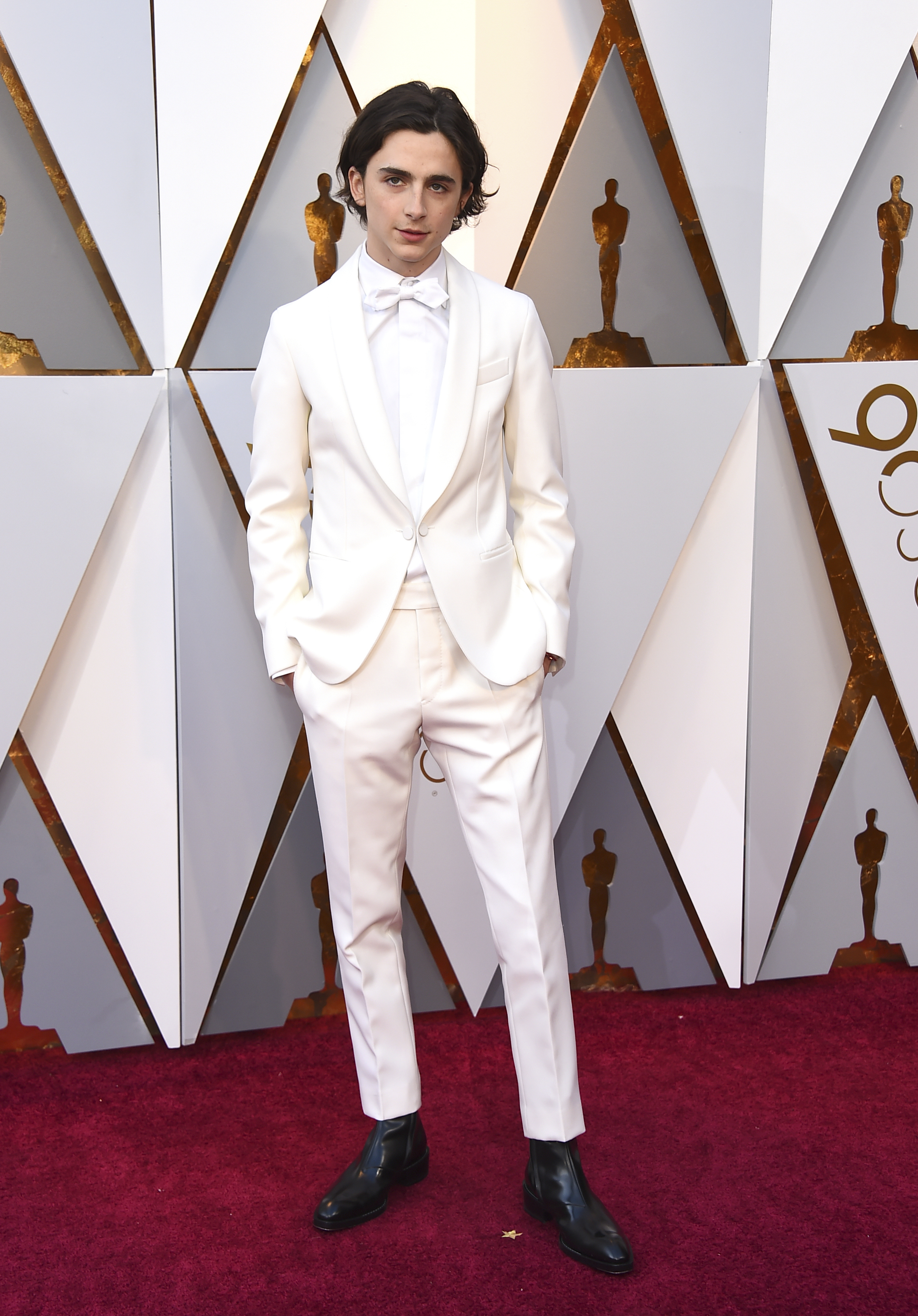 "<div class=""meta image-caption""><div class=""origin-logo origin-image none""><span>none</span></div><span class=""caption-text"">Best Actor nominee Timothee Chalamet of ''Call Me By Your Name'' arrives at the Oscars on Sunday, March 4, 2018, at the Dolby Theatre in Los Angeles. (Jordan Strauss/Invision/AP)</span></div>"