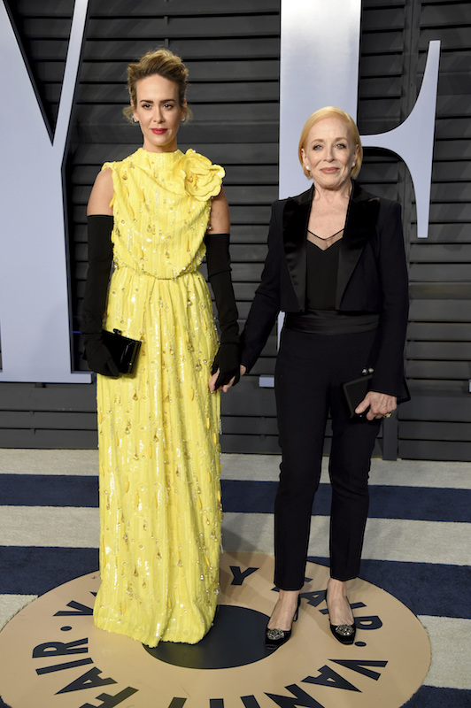 "<div class=""meta image-caption""><div class=""origin-logo origin-image ap""><span>AP</span></div><span class=""caption-text"">Sarah Paulson, left, and Holland Taylor arrive at the Vanity Fair Oscar Party on Sunday, March 4, 2018, in Beverly Hills, Calif. (Evan Agostini/Invision/AP)</span></div>"