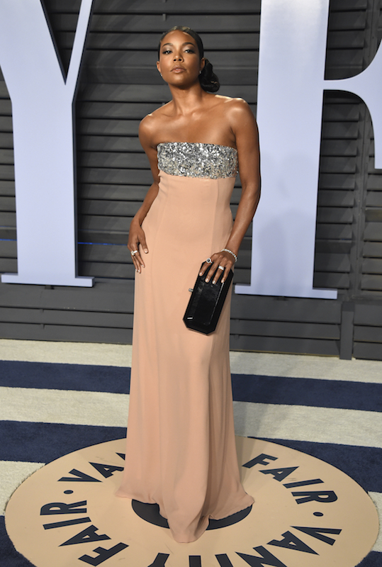 "<div class=""meta image-caption""><div class=""origin-logo origin-image ap""><span>AP</span></div><span class=""caption-text"">Gabrielle Union arrives at the Vanity Fair Oscar Party on Sunday, March 4, 2018, in Beverly Hills, Calif. (Evan Agostini/Invision/AP)</span></div>"