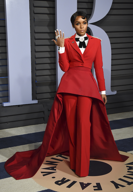 "<div class=""meta image-caption""><div class=""origin-logo origin-image ap""><span>AP</span></div><span class=""caption-text"">Janelle Monae arrives at the Vanity Fair Oscar Party on Sunday, March 4, 2018, in Beverly Hills, Calif. (Evan Agostini/Invision/AP)</span></div>"