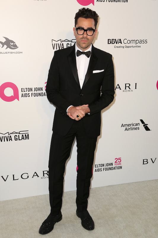 "<div class=""meta image-caption""><div class=""origin-logo origin-image ap""><span>AP</span></div><span class=""caption-text"">Dan Levy arrives at the 2018 Elton John AIDS Foundation Oscar Viewing Party on Sunday, March 4, 2018, in West Hollywood, Calif. (Willy Sanjuan/Invision/AP)</span></div>"