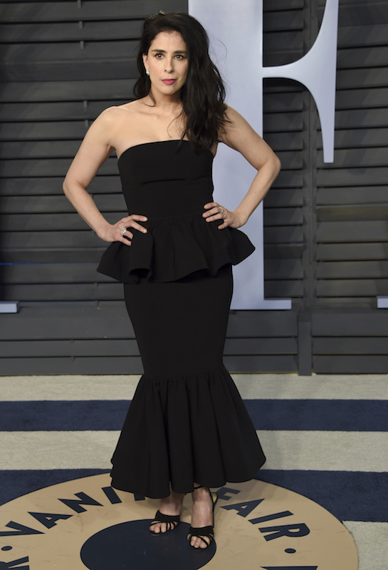 """<div class=""""meta image-caption""""><div class=""""origin-logo origin-image ap""""><span>AP</span></div><span class=""""caption-text"""">Sarah Silverman arrives at the Vanity Fair Oscar Party on Sunday, March 4, 2018, in Beverly Hills, Calif. (Evan Agostini/Invision/AP)</span></div>"""